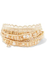 Chan Luu Gold Plated Multi Stone Wrap Bracelet One Size