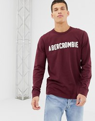 Abercrombie And Fitch Logo Applique Long Sleeve Top In Burgundy Red
