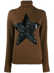 P.A.R.O.S.H. Roll Neck Star Patch Sweater Brown