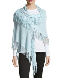 Minnie Rose Cashmere Fringe Trim Wrap Fountain Bleu