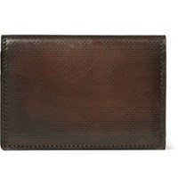 Berluti Imbuia Pythagora Patterned Leather Bifold Cardholder Brown