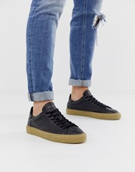 Selected Homme Leather Trainers With Chunky Grain Sole In Black