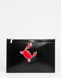 Thom Browne Crab Embroidered Pouch Black