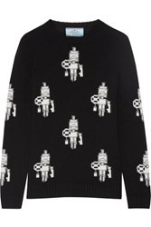 Prada Intarsia Wool And Cashmere Blend Sweater Black