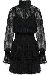 Lover Woman Shirred Lace Dress Black