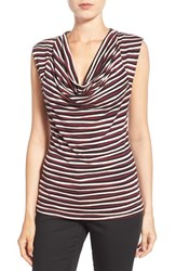 Women's Halogen Cowl Neck Sleeveless Top Black Burgundy Stripe