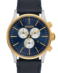 Nixon Gold And Blue Sentry Chrono Leather Watch Yellow