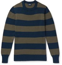 Drakes Drake's Wilcot Slim Fit Striped Cotton Sweater Blue