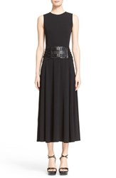 Women's Michael Kors Croc Embossed Belted Matte Jersey Maxi Dress Black