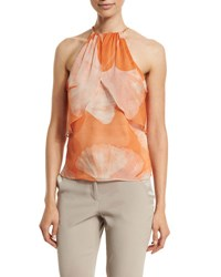 Halston Halter Neck Printed Top Terracotta Botanical