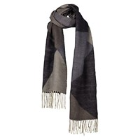 Fat Face Brushed Geometric Pattern Fringe Scarf Navy Taupe