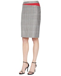 Escada Plaid Business Skirt With Red Insets Black