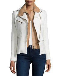 Veronica Beard Hadley Tweed Moto Jacket W Leather Dickey White Women's