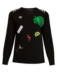 Marc Jacobs Patch Applique Wool Sweater Black