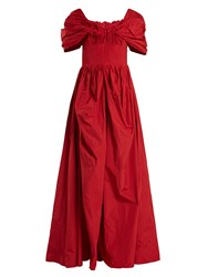 Brock Collection Dionne Off The Shoulder Taffeta Gown Red