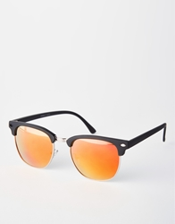 Asos Clubmaster Sunglasses With Colour Lens Black