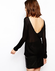 Baandsh Faure Ribbed Top With Open V Back Noir