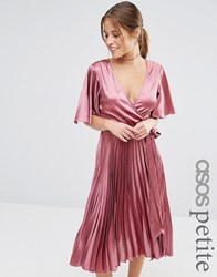 Asos Petite Pleated Satin Kaftan Midi Dress Lilac Brown