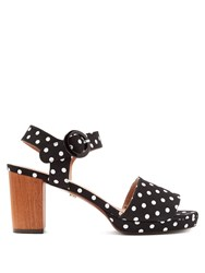 Alexachung Polka Dot Block Heel Sandals Black White