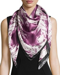 Anna Coroneo Ferns Square Silk Scarf Ruby