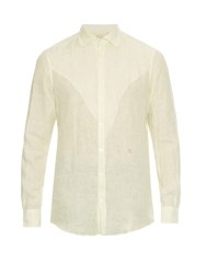 Massimo Alba Long Sleeved Linen Shirt White