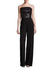St. John Sequin And Satin Back Crepe Jumpsuit Caviar