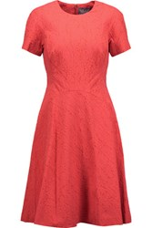 Lela Rose Matelasse Cotton Blend Dress Coral