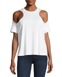Courreges Short Sleeve Cold Shoulder Jersey Top White