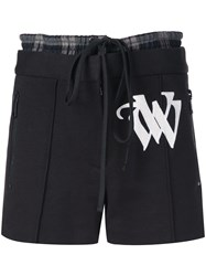 Vera Wang Embroidered Drawstring Shorts Black