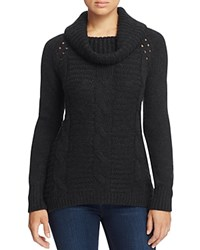 T Tahari Cowl Neck Cable Knit Sweater Black