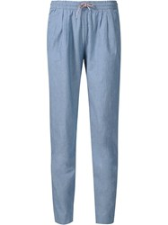 Maison Kitsune Chambray Baggy Trousers Blue