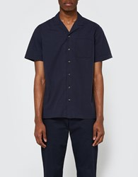 Wings Horns Short Sleeve Deck Shirt Navy