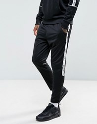 Illusive London Skinny Track Joggers In Black With Taping Black
