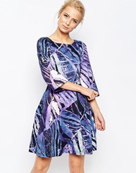 Closet Printed Dress With Wide Sleeves Multi