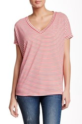 Melrose And Market Oversized Striped V Neck Tee Red