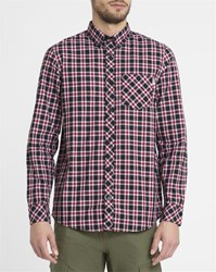 Carhartt Dark Grey And Red Leon Checked Button Down Collar Shirt