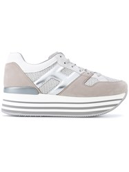 Hogan Striped Platform Sneakers Women Cotton Leather Rubber 38.5 Nude Neutrals