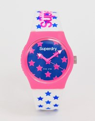 Superdry Silicone Watch With Pink Stars Syl168wp White