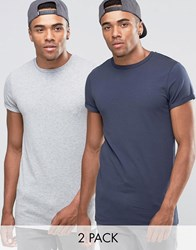 Asos 2 Pack Longline Muscle T Shirt With Roll Sleeve Grey Ombre Blue Multi
