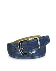 Moreschi St. Barth Navy Blue Perforated Nabuk And Leather Belt