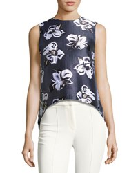 Adam By Adam Lippes Metallic Floral Jacquard Shell Navy