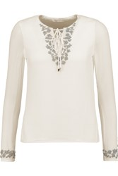 Rebecca Minkoff Yoko Embellished Silk Chiffon Top White