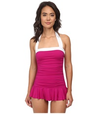 Lauren Ralph Lauren Bel Aire Solids Shirred Bandeau Skirted Mio Slimming Fit One Piece Pink Hibiscus Women's Swimsuits One Piece