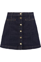 7 For All Mankind Stretch Denim Mini Skirt Dark Denim