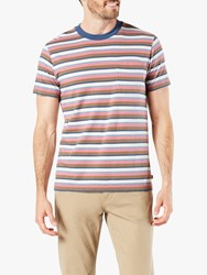 Dockers Pocket Stripe T Shirt Shittake Brown Multi