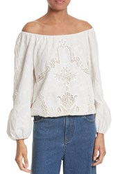 Alice Olivia Women's Alta Cotton Peasant Top White
