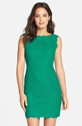 Petite Women's Adrianna Papell Boatneck Lace Sheath Dress Emerald