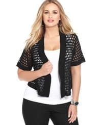 Ny Collection Plus Size Cropped Open Knit Shrug Black