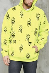 Forever 21 Dripping Dollar Sign Hoodie Yellow Black
