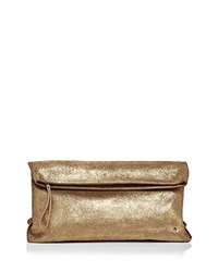 Halston Heritage Tina Large Metallic Leather Clutch Gold